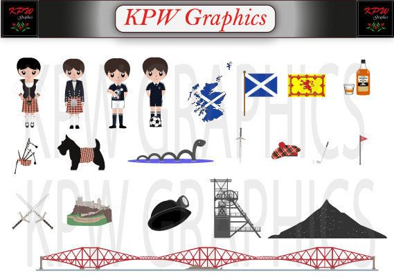 Scotland UK  Countries of the World Clipart Set in by KPWgraphics