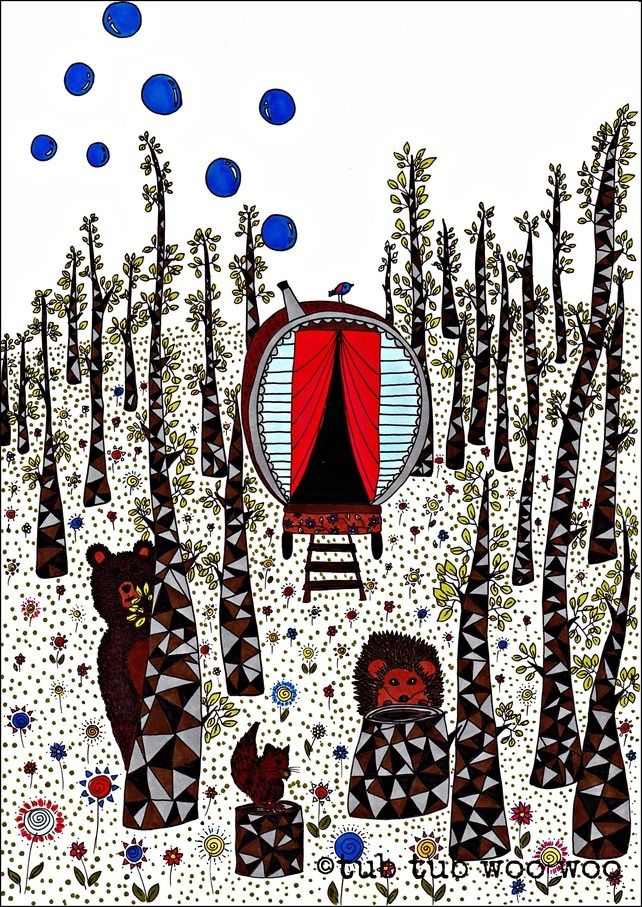 Forest animals print, caravan in woods with animals illustration £14.00
