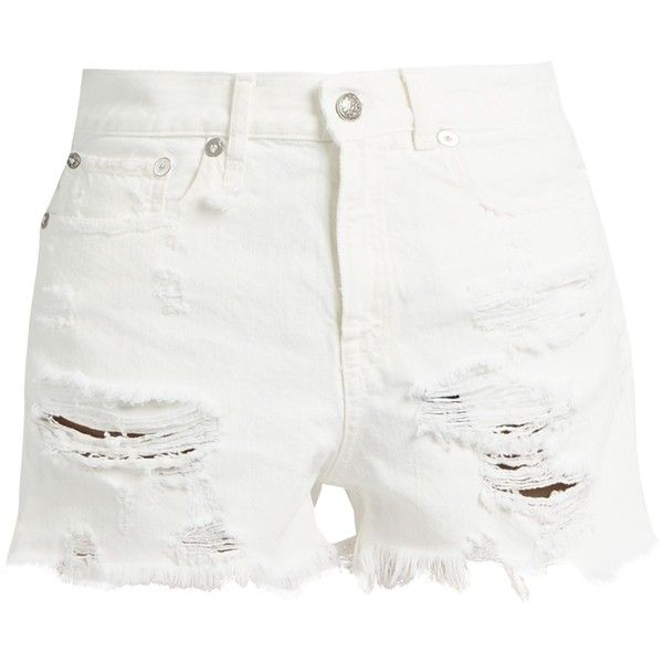 R13 Shredded Slouch denim shorts ($227) ❤ liked on Polyvore featuring shorts, ripped jean shorts, distressed denim shorts, white high waisted shorts, jean shorts and high-waisted denim shorts