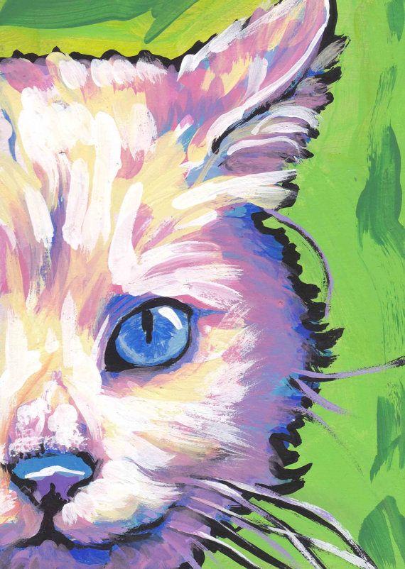 white Cat kitten art print pop art bright colorful cat portrait art 13x19 by LEA via Etsy