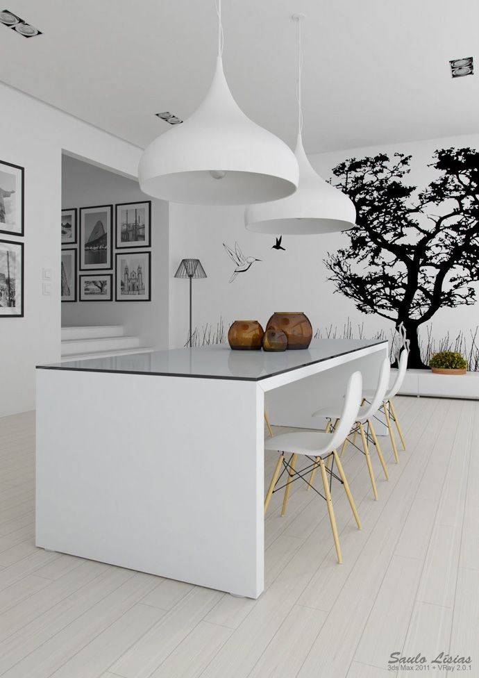 20 Inspiring Wonderful Black and White Contemporary Interior Designs - frames and stickers on the walls are great