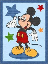 Mickey Mouse Star Afghan Blanket Crochet Pattern