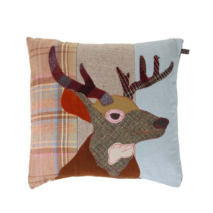 Make a bold statement with this Stag cushion from Carola van Dyke. Full of character, it's been crafted from a mix of precisely cut vintage & modern fabrics in a range of patterns & colours. The un...