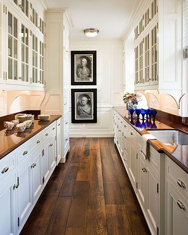 Wood Flooring Ideas for Kitchen~ I like the darks wood with white cabinets
