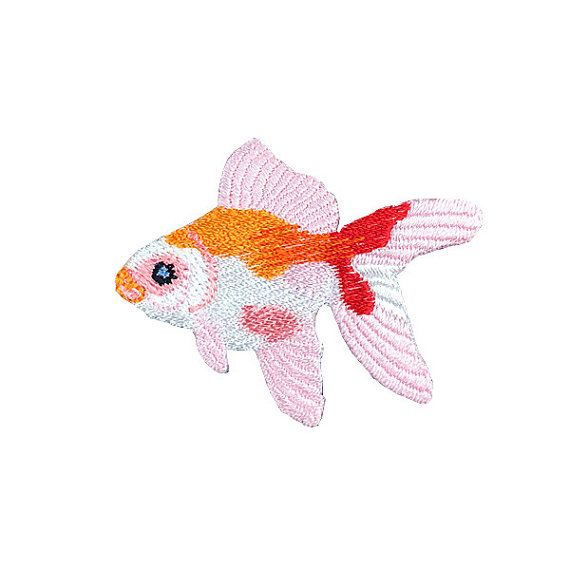 gold fish embroidered patch iron on patch embroidered badge sew on patch cute patch iron on patches