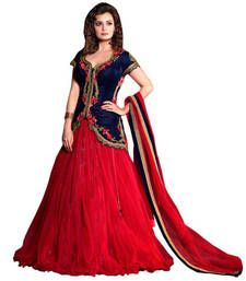 Buy Red embroidered net unstitched lehenga choli lehenga-choli online