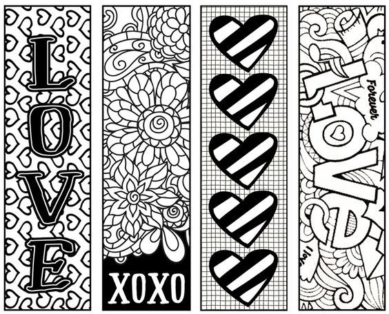 fun valentines bookmarks for children to color and give as gifts free printables - Fun Pictures To Color