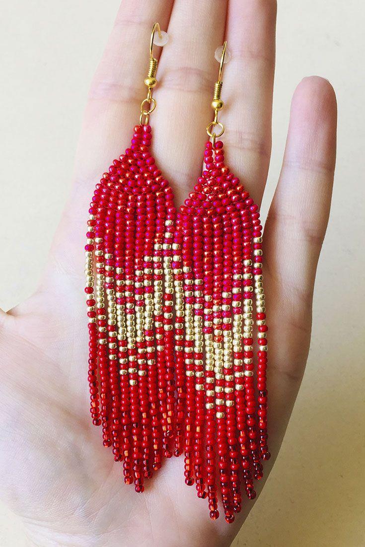 Red Beaded /& Gold Long Earrings
