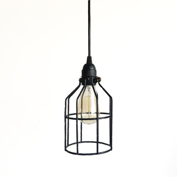 Black Cage Pendant Light, Black