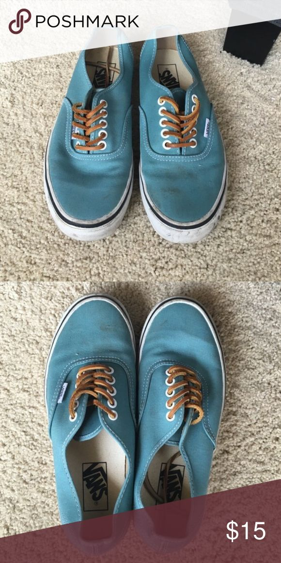 Real vans (rare color!) Aqua/teal vans. Used but just need a good cleaning. Worn once to a football game. Vans Shoes