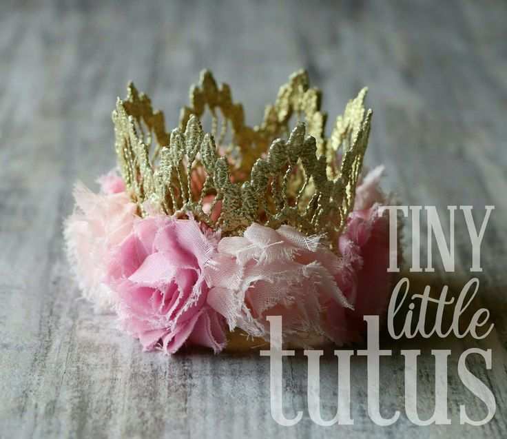 Gold Birthday Crown with two tones of light pink flowers for your little princess. Birthday photo prop, cake smash item. Matching tutu available for custom order. We wil custom all aspects of your order if requested. The sky is the limit for crown and flower colors. Visit us on Facebook or Etsy for custom orders. Facebook link below photo, Etsy link on our main page. Fast shipping available. #tinylittletutus