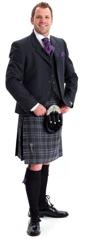 K1 Arrochar grey tweed contemporary kilt outfit