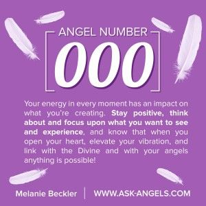 The Angel Number 000 Brings the message to stay positive! Think about and focus on what you want to experience... And know that with an open heart all things are possible!