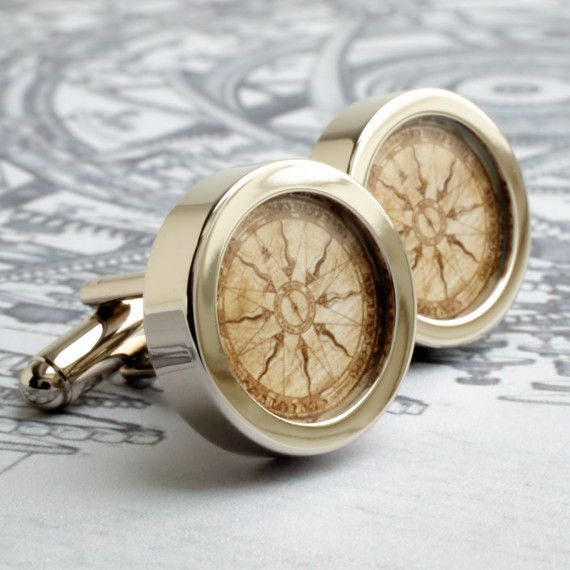 Compass Cufflinks Vintage Nautical Compass from the New World