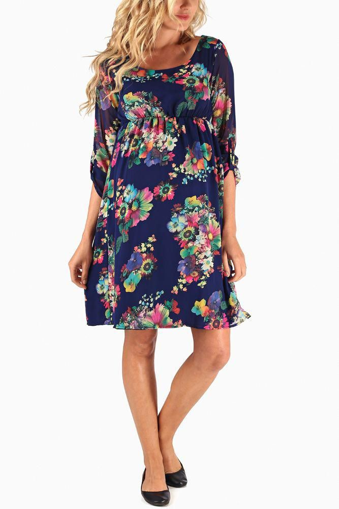 2656683fbd2ae Navy-Blue-Neon-Floral-Printed-Chiffon-3/4-Sleeve-Maternity-Dress  #maternityclothes #pinkblushmaternity #maternitydresses #fashion #style  #pregnancy4me