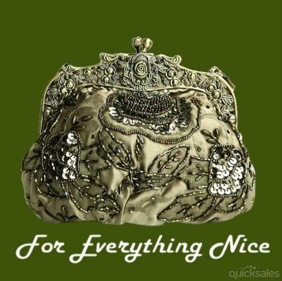 Olive Antique Frame Beaded Bejewled Sequined Evening Bag Bridal Purse by JRMB7339 - $90.00