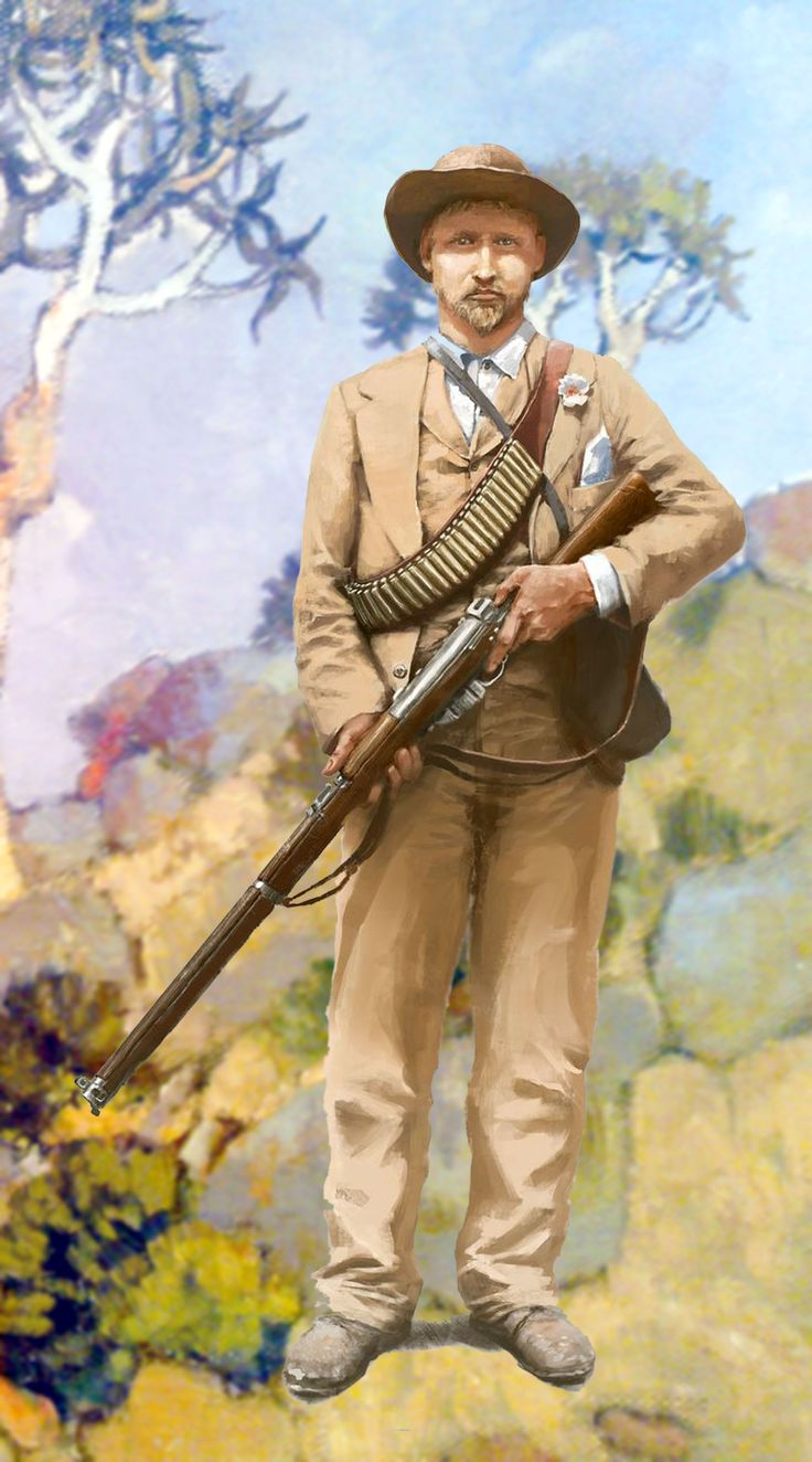 Boer commando in the Transvaal, Anglo-Boer War. Clearly based on the center gentleman of the photo I use for the cover of this board.