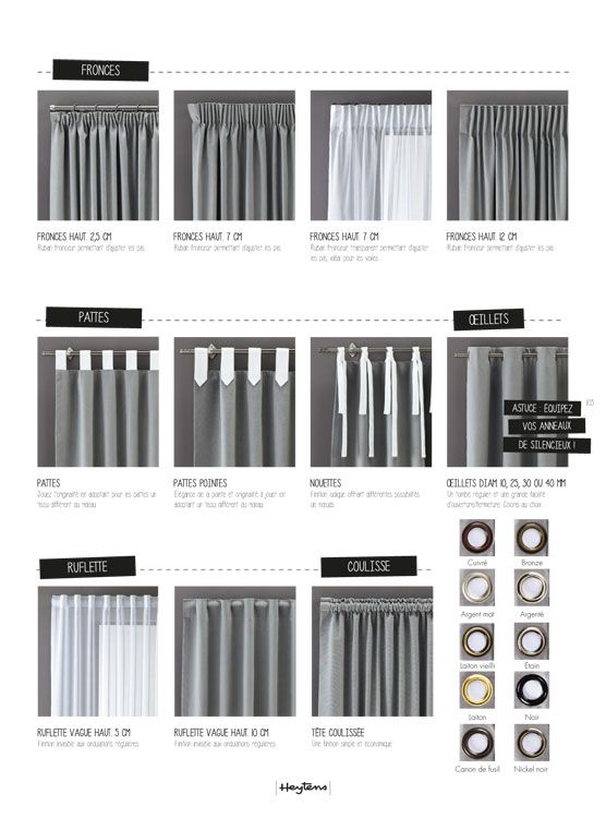 choisir sa t te de rideau heytens home decoration pinterest salons curtain fabric and. Black Bedroom Furniture Sets. Home Design Ideas