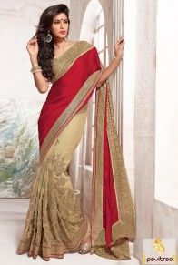 Red Beige Designer Party Wear Saree with Net