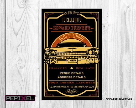 Cars Invitation Card Template Free: Retro Car Chevy Birthday Digital Printable Invitation
