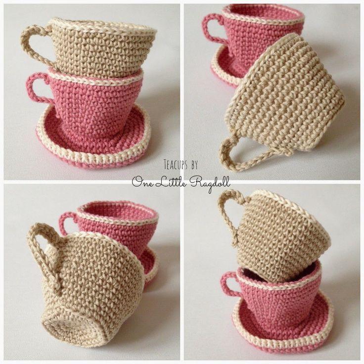 One Little Ragdoll * crochet tea cups