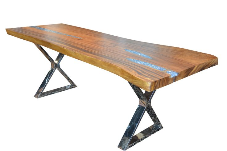 Live edge solid wood slab dining table with resin and - Broken glass dining table ...