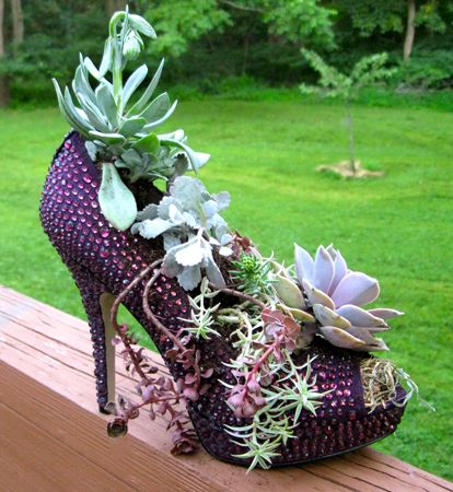 Shoes have Stepped into our lives … in more way than one! Before I describe my fun high heel shoe planter tutorial . . .something completely different;I'm talking New Jersey Farms … but there is a link here because clearly no one is going to be wearing a pair of purple, rhinestoned, peek-a-boo toe, platform...