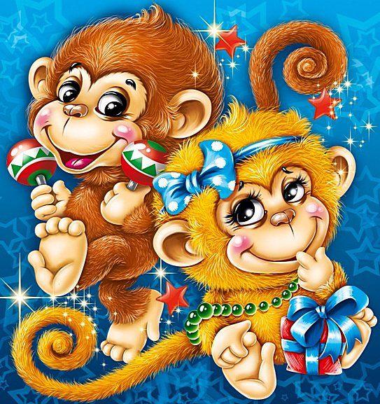 Открытки новый год обезьяны, цена магазин рождественские