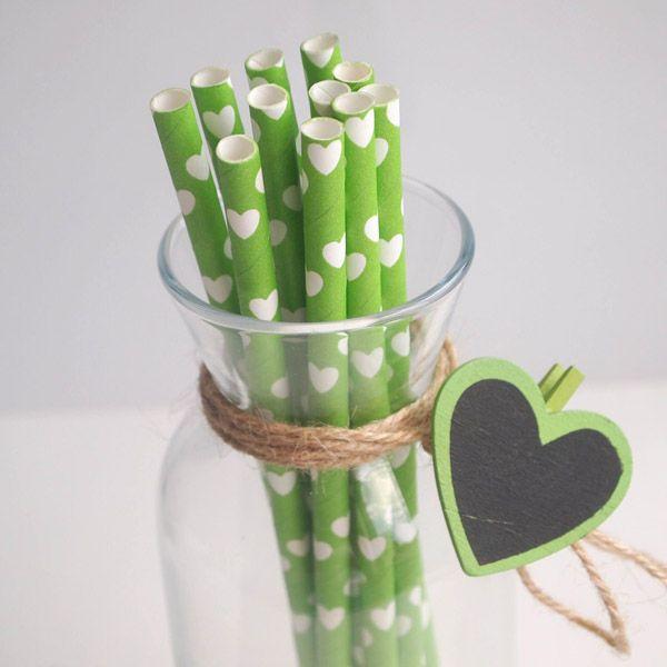 Beyaz Kalpli Yeşil Kağıt Pipet