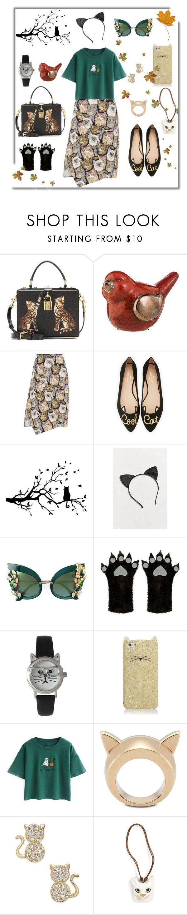 """Cat look😸"" by dilka-ylibka on Polyvore featuring мода, Dolce&Gabbana, Evergreen, STELLA McCARTNEY, Kate Spade, Urban Outfitters, Accessorize, Olivia Pratt, Chicnova Fashion и Loewe"