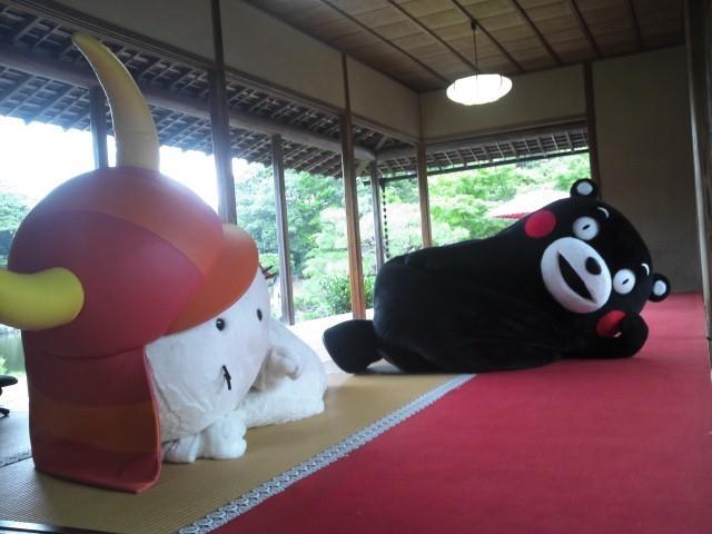 くまモンオフィシャル 彦根城の鳳翔台(茶室)でひこにゃん