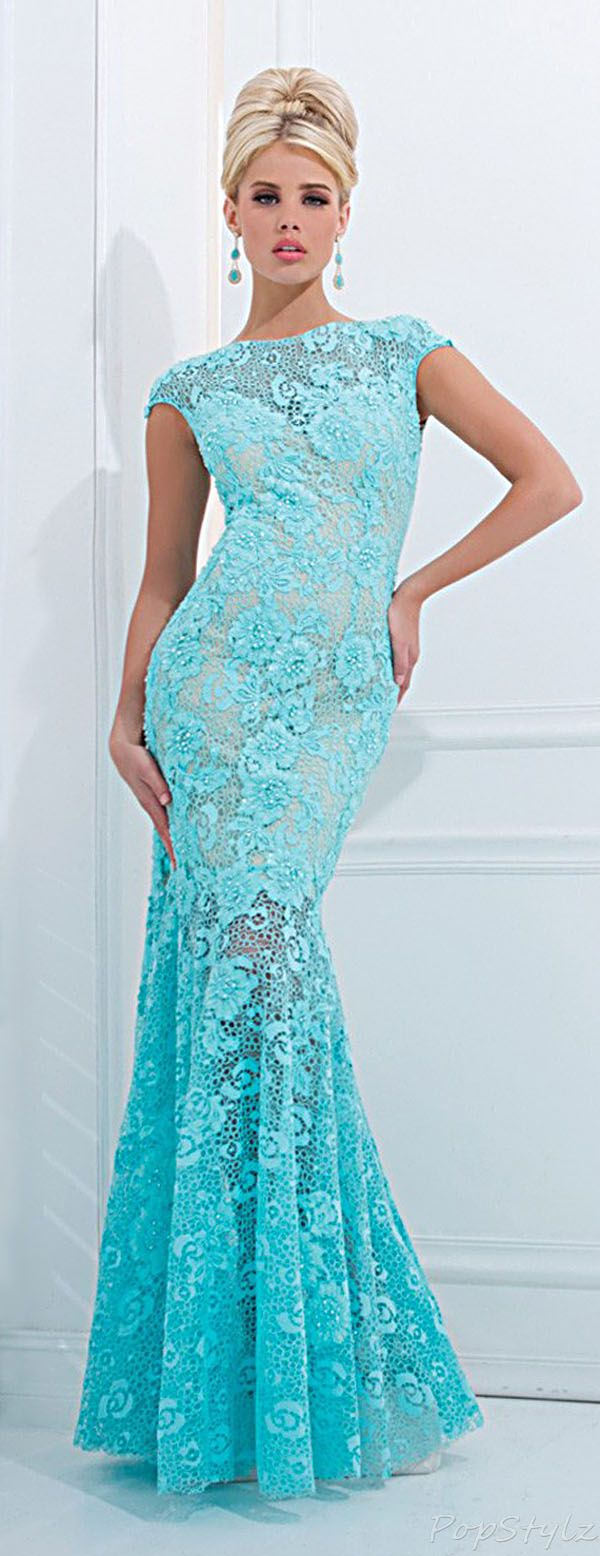 Tony Bowls Lacy Mermaid Evening Gown jaglady