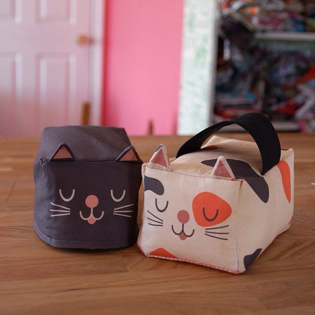 """mypapercrane (IG). 04-17-2016. Sewing up my #kittyloaf fabric today so I can make an instructional post for my blog, also showing how to create a few variants like the """"kittyloaf door stop"""" seen on the right. Our bedroom doors are always blowing shut when the windows are open, so we need a few of these fellas #spoonflower"""
