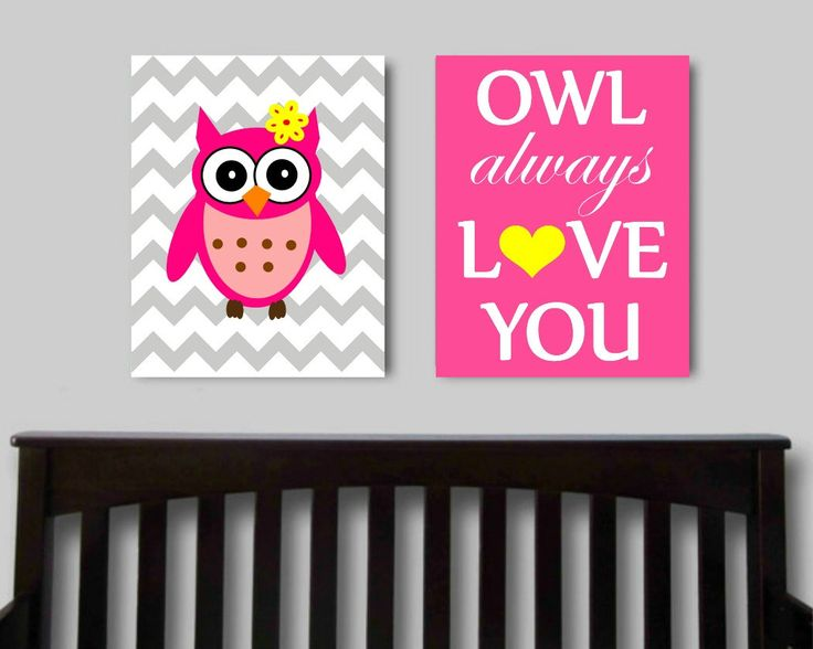 Owl Always Love You, Set Of 2, Printable Nursery Art, Owl Print, Baby Girl Nursery  Art, Childrens Art, Pink Nursery Art, Chevron Nursery