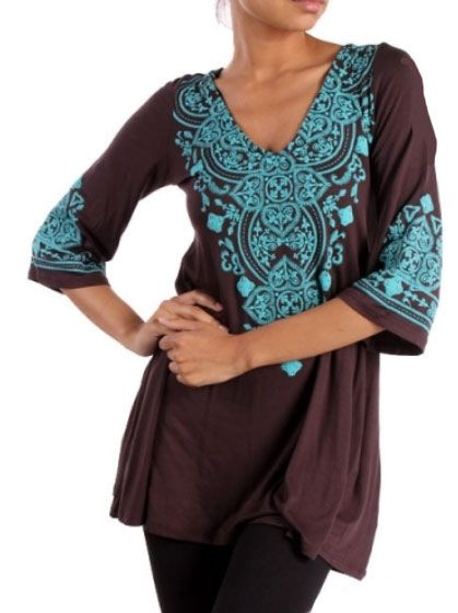 Western Cowgirl Tunic Top in Brown & Turquoise