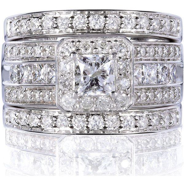 Annello 14k White Gold 1 4/5ct TDW Princess-cut Halo Diamond 3-piece... ($2,422) ❤ liked on Polyvore featuring jewelry, rings, white, diamond rings, 14k diamond ring, yellow gold diamond ring, princess cut diamond rings and princess diamond ring