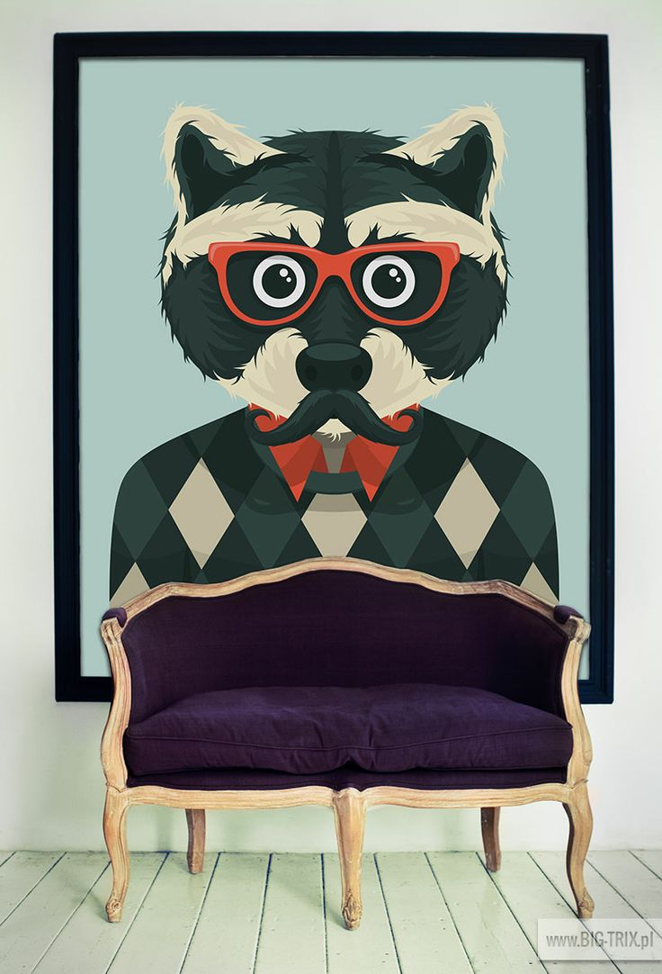 HIPSTA STYLE: Racoon poster from Big-trix.pl | #poster #hipster #retro