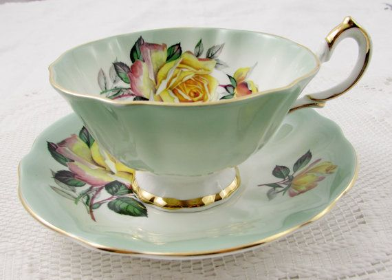 Queen Anne Tea Cup and Saucer, Green Tea Cup with Yellow Roses, Vintage Bone China