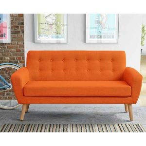 Mid CenturyTwo Seater Sofa | i love retro | Inspired by mid-century design and chic Scandinavian living, this sofa is where 1950s retro meets contemporary minimalism. The tapered solid oak legs frame the smooth elongated shaped sofa that is available in your choice of 5 colours; Orange, Green, Mustard Yellow, Light Grey and Smoke. Perfect stylish seating for your living room or conservatory.
