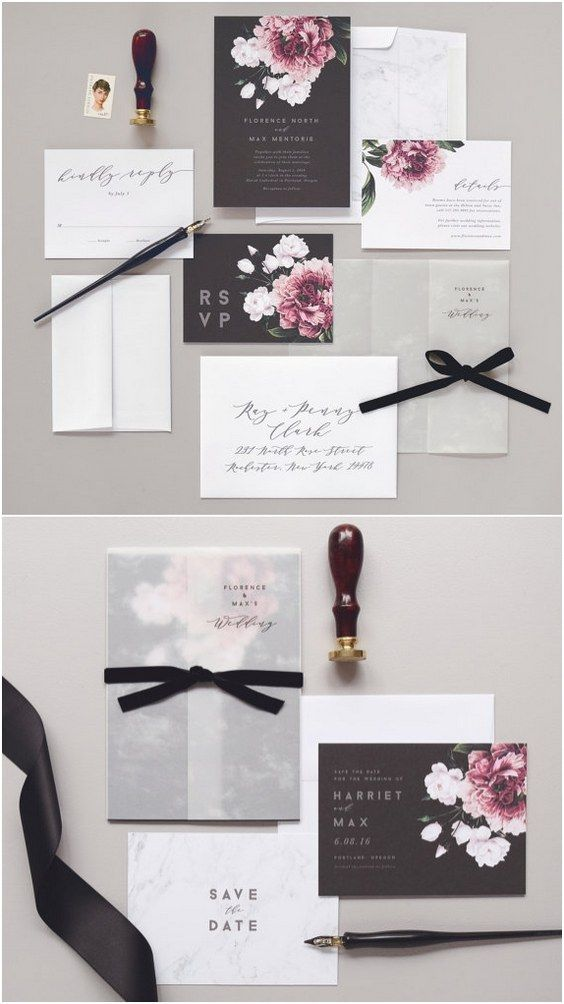 Florence Wedding Invitation & Correspondence Set / Vintage Florals and Marble Accents /