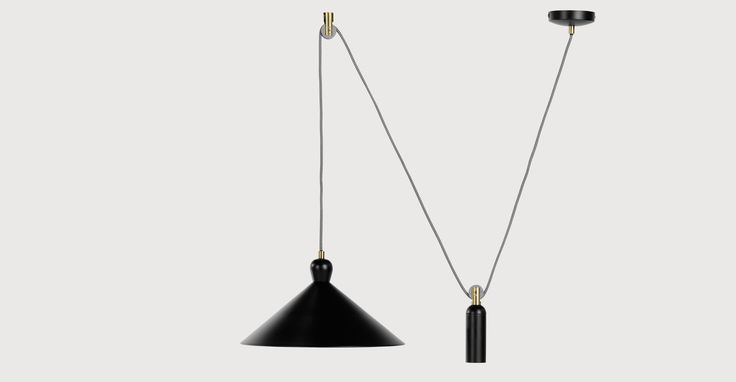 £79 . Made . Ogilvy Rise and Fall Pendant, Matt Black and Antique Brass