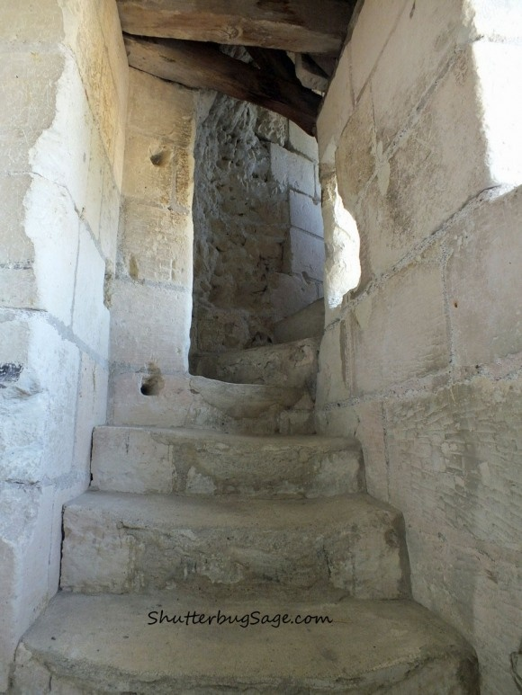 The steps leading to the tower store room in Heart of Fragile Stars. Chateau d'Usse inspired Chateau du Soleil, a recurring location in my books.