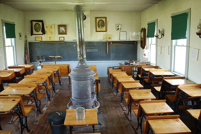 An old one room schoolhouse, restored at Stuhr Museum of the Prairie Pioneer in Grand Island, Nebraska
