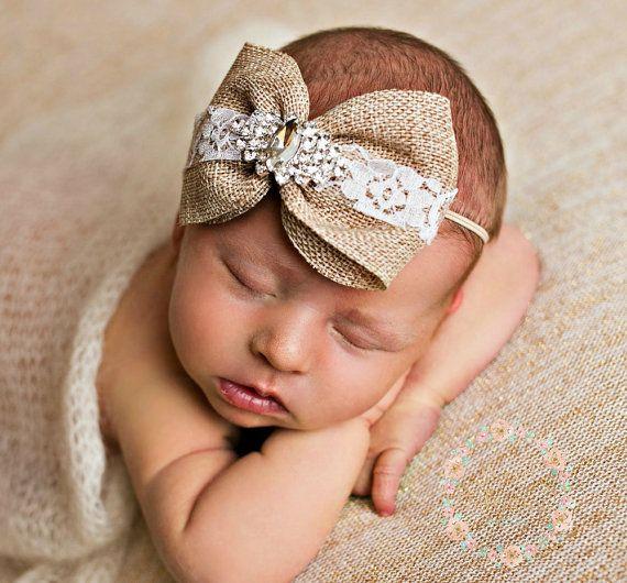 Newborn Headband baby headbands  Burlap headband by SweetValentina