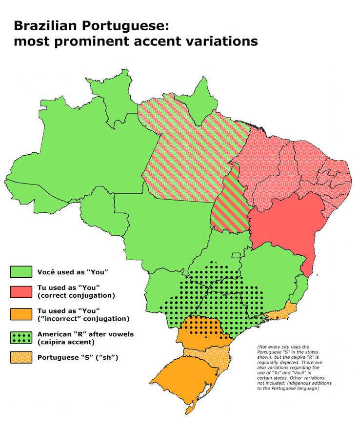 Brazilian Portuguese accent variations by region/state. by Dehast.  Maps on the Web
