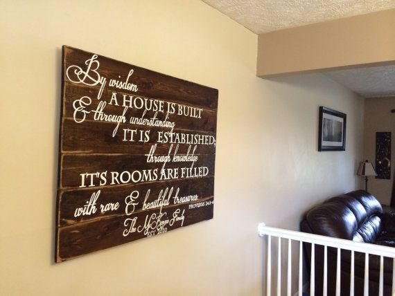 Hand painted Proverbs 24:3-4 large rustic scripture sign on pine board