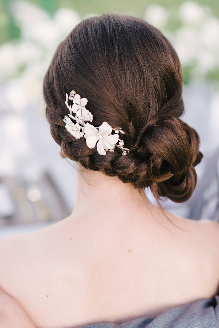 So neat! - Gorgeous braided bun updo by , photo by |