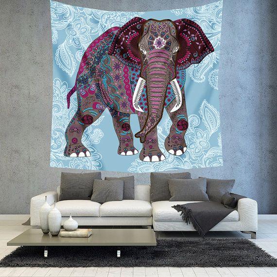 Elephant tapestry Bohemian tapestry Mandala by Christinedecorshop