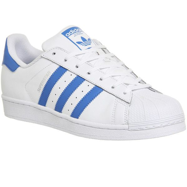 Adidas Superstar 1 ($99) ❤ liked on Polyvore featuring shoes, trainers, unisex sports, white blue, retro shoes, blue and white shoes, sport shoes, adidas footwear and leather upper shoes