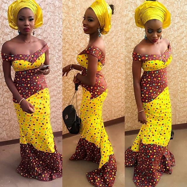 f86b65b1a125c kaba-gown-with-head-wrap-500x500 Ghanaian Women Kaba and Slit- 20 Beautiful  Kaba Outfit Ideas